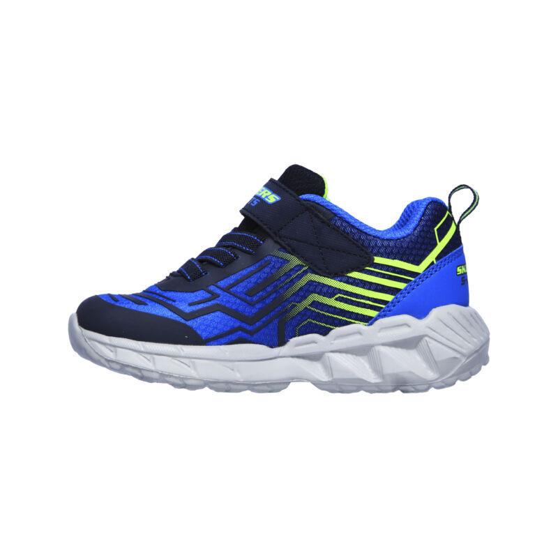 Skechers Bozler villogó talpú fiú cipő kék-neonzöld