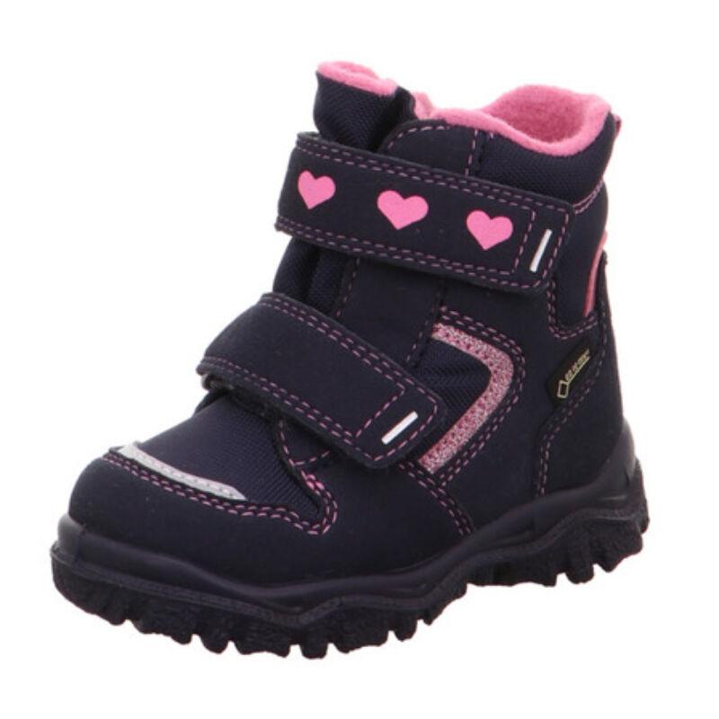 Vízálló téli bundás kislány sötétkék-rózsaszín Superfit Husky1 csizma